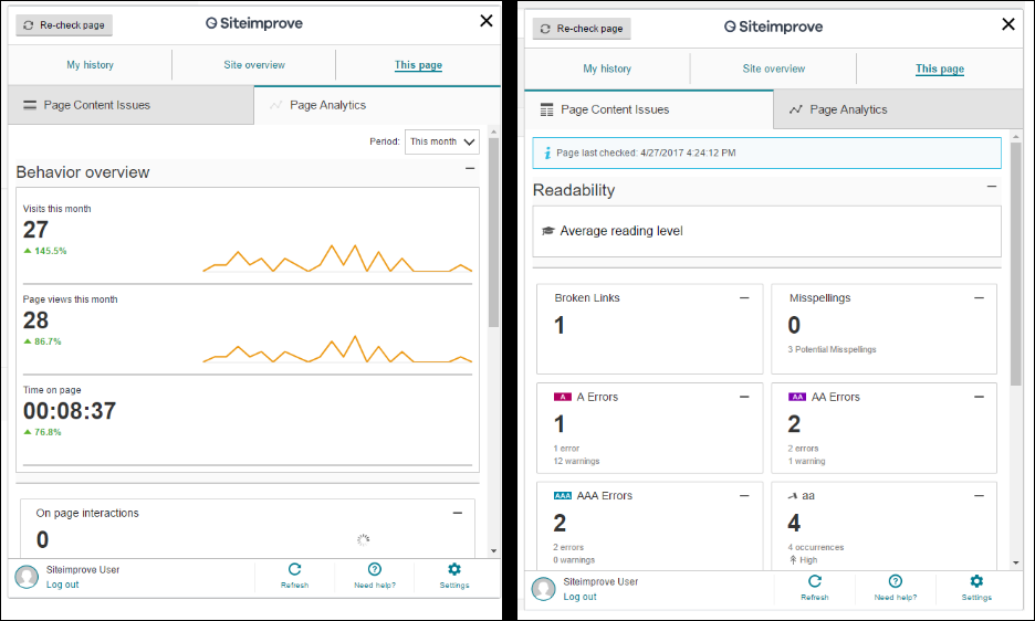 The Siteimprove for Kentico extension provides insights into*: