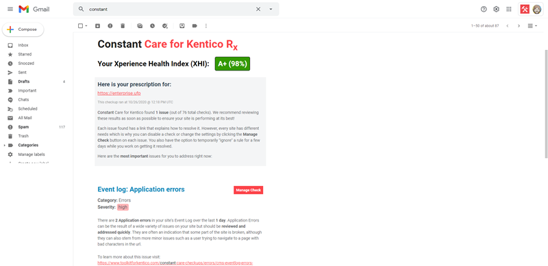 example of Constant Care for Kentico email report